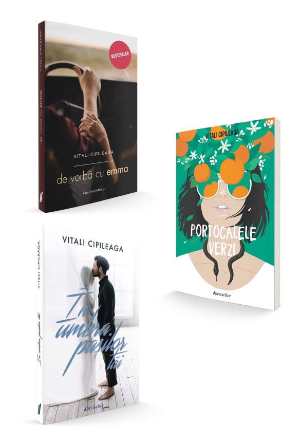 """Pachet Promoțional Vitali Cipileaga: """"Portocalele verzi"""", """"În umbra pașilor tăi"""" și """"De vorbă cu Emma"""" (Cărți cu Autograf)"""